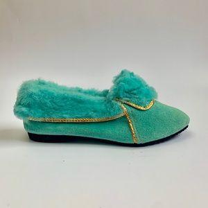 Vintage 1960s deadstock turquoise slipper booties